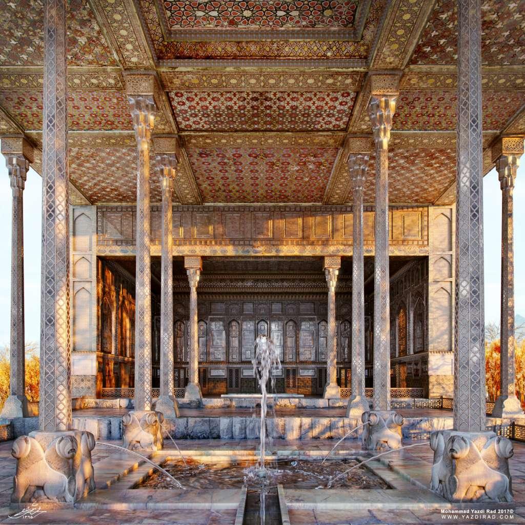 ایوان و حوض کاخ آیینه خانه