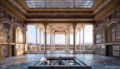 ایوان کاخ آیینه خانه اصفهان و پل چوبی (جویی)