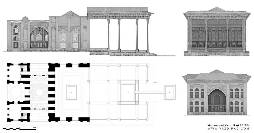 بازسازی پلان کاخ آیینه خانه اصفهان